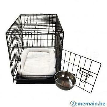 Cage avec bac + coussin blanc + bol inox 6 TAILLES