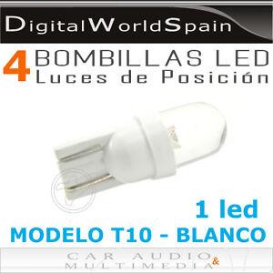 Pack de 4 bombillas led tipo t10 de 1 led luz blanca luces - Tipos de luces led ...