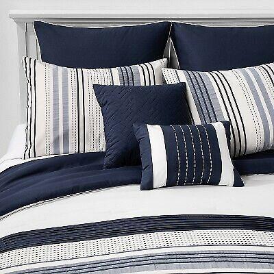 King Allen Stripe Comforter Set Navy - Hallmart Collectibles