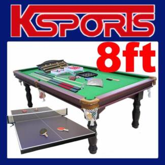 TRADITIONAL PUB SIZE 8FT POOL TABLE WITH TABLE TENNIS TOP