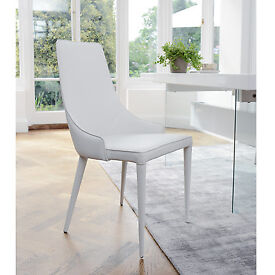 Tapered dining chair faux leather white - Dwell