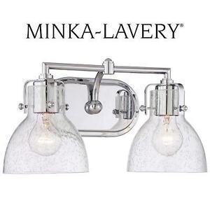 NEW ML 2-LIGHT BATH VANITY LIGHT - 112780784 - MINKA LAVERY CHROME TRADITIONAL