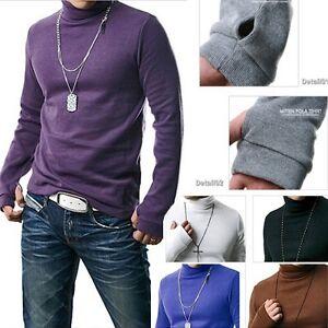 Thumb Holes Style Men Long Sleeve High Neck T Shirt Wu16