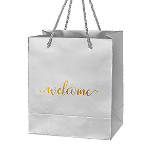 Crisky Silver Specialty Paper Welcome Gift Bags Wedding For Hotel Guests Party