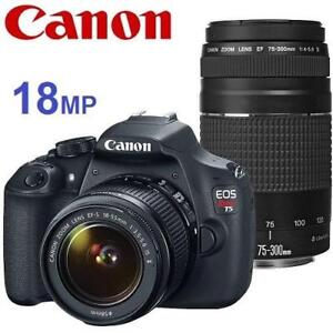 NEW OB CANON REBEL T5 DSLR CAMERA - 132522113 - EOS 18MP W/ 18-55MM  75-300MM LENS DIGITAL PHOTOGRAPHY NEW OPEN BOX P...