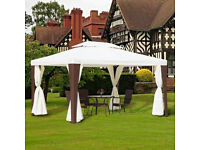 Outsunny 3m x 4m Rattan Metal Gazebo in Cream