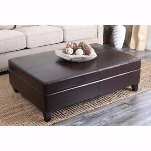 Griffey Leather Ottoman by Red Barrel Studio NEW