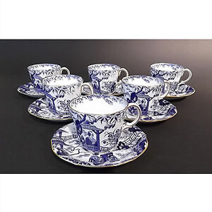 Royal Crown Derby Mikado antique set of 6 demitasses and saucers