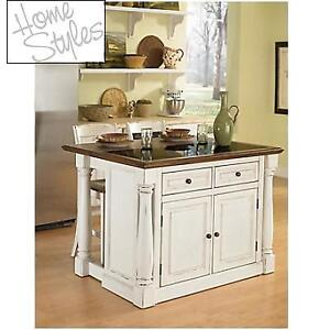 NEW* HOME STYLES KITCHEN ISLAND SET 5021-948 169847603 KITCHEN ISLAND AND TWO STOOLS MONARCH ANTIQUE WHITE
