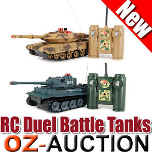Set of 2 Full Size Infrared Radio Remote Control Battle Tanks