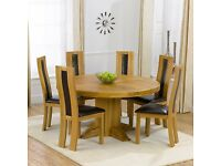 Oak round table and chairs