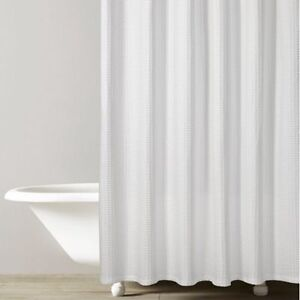 HOMESENSE WHITE WAFFLE SHOWER CURTAIN-EXCELLENT CONDITION!