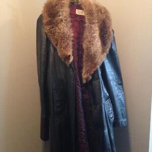 Men's Black Leather Jacket with Wolf fur collar