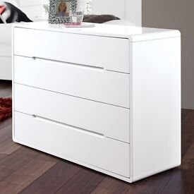 Dwell Monza/Notch Matt White Chest of Drawers & 2 Bedside Cabinets RRP £847