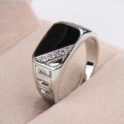 Men Stainless Steel Ring Black Onyx Gemstone Ring Jewelry Gift Size 6-12 US - Gemstone Men Ring