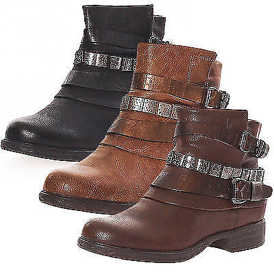 Damen Biker Boots Stiefelette Schuhe Stiefel Schnalle Lederoptik Neu 36-41 SM 00 online kaufen