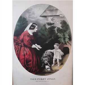 """Framed Currier & Ives Coloured Lithograph """"The First Step,"""""""