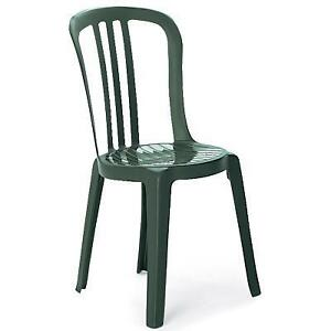 Green plastic balcony/ backyard chairs - $10 Each