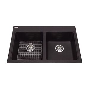 Kindred Top Mount Black Granite Kitchen Double Sink