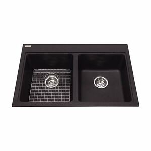 Kindred / Franke Top Mount Black Granite Kitchen Double Sink