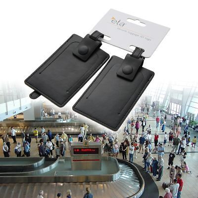 2 Black Leather Luggage ID Tags Travel Identification Privacy Security By ETA on Rummage