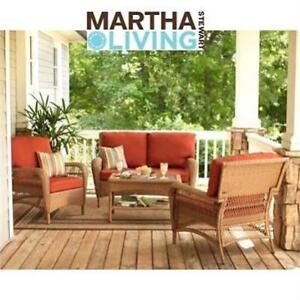 NEW MARTHA STEWART 4-PC CHAT SEATING SET - 130101459 - Charlottetown Brown 4pc Set with Green Cushions - PATIO