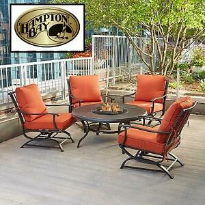 NEW HAMPTON BAY 5PC FIRE PIT SET FSS60428RST 253431305 Metal Outdoor Patio Fire Pit Seating Set with Quarry Red Cushions