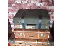 Vintage suitcases, steamer trunks for sale x 2