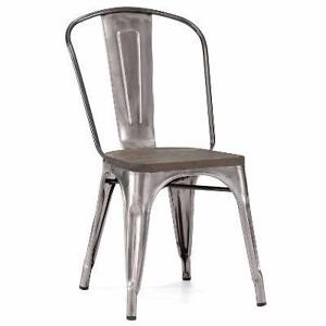 METAL DINING CHAIR BAR STOOL WITH WOODEN SEAT on special