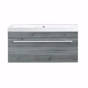 1 drawer vanity with white synthetic marble sink by Luxo Marbre