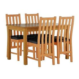 Pemberton oak table with wooden black leather Seats Chair Dining Set
