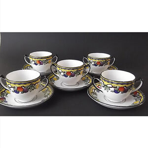 Double-handled cups and saucers of Adderley's POMONA pattern