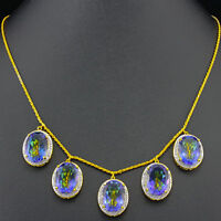 NECKLACE - GENUINE BLUE MYSTIC & DIAMOND GEMSTONES CRAFTED IN