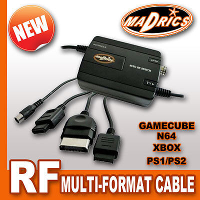Madrics MULTI FORMAT RF CABLE TV Aerial Adapter Lead For Gamecube N64 PS2 XBOX