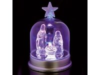 Colour Changing Glass Nativity Scene. Christmas Decorations