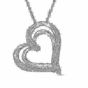 Diamond Accent in Sterling Silver Heart Necklace