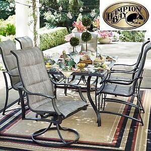 NEW* HAMPTON BAY DINING SET - 125606139 - STATESVILLE PADDED SLING DINING PATIO