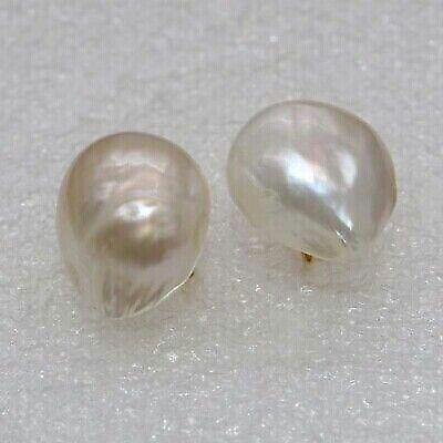 100% Natural white 15*17mm Baroque Freshwater Pearl Earrings Baroque Pearl Drop Earrings