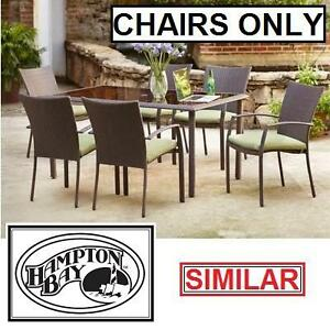 6 NEW HB DELARONDE PATIO CHAIRS HAMPTON BAY WICKER CHAIR BEIGE CUSHIONS OUTDOOR SEATING SEATS DINING SETS 109973722
