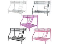 New Metal Single Double Triple Kids Children Sleeper Bunk Bed Frame - (free delivery)