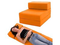 2 x Orange GILDA Foam Guest Z Single Fold Out Bed / Chair **MINT CONDITION** £25 Each /£40 Pair
