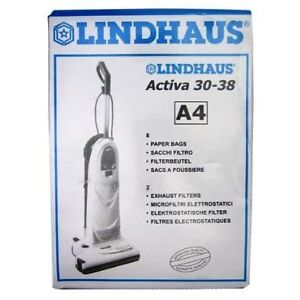 Lindhaus Activa 30-38 A4 8 Vacuum Cleaner Bags and 2 Exhaust Fil