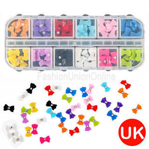 60Pcs Acrylic 3D Rhinstone Nail Art Bows / Boxed / 12Colours / Uk Seller