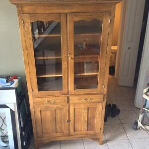 Wooden Antique China Cabinet, Glass Doors