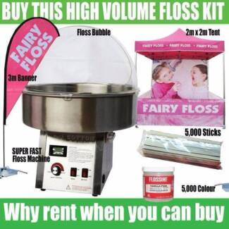 FAIRY FLOSS BUSINESS WITH TENT, BANNER, 5000 STICKS + FLOSSINE