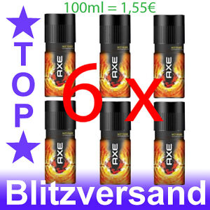 ★★ 6 x Axe Hot Fever Deo, Deodorant Herren Deospray Bodyspray, Parfüm ★★