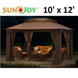 NEW SUNJOY 10' x 12' WICKER GAZEBO D-GZ806PAL-C 185440744