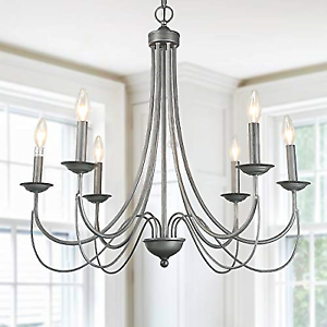 Log Barn 6 Light Antique Silver Pendant Lights Indoor Chandelier Lighting