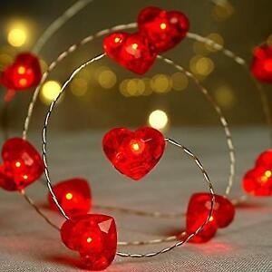 low priced 43953 5efd5 BOHON Fairy String Lights 10 ft 40 LEDs Red Heart Shaped Twinkle