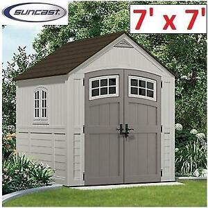 NEW SUNCAST CASCADE SHED 7'x7' BMS7790D 187827949 UTILITY SHED GARAGE STORAGE